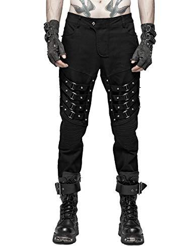 Preisvergleich Produktbild Punk Rave Gothic Men Heavy Metal Hohe Taille Schwarze Hosen Beiläufige Baumwolle Lose Hosen 5XL