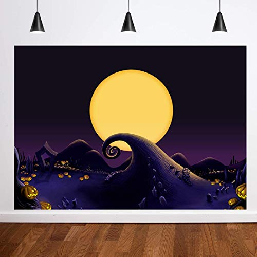 Dudaacvt 8x6ft Nightmare Before Christmas Themed Backdrop Halloween Pumpkin Jack Theme Birthday Baby Shower Photo Studio Photography Pictures Background Party Home Decor Decoration Background D230
