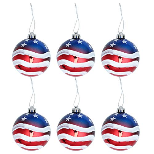LUOEM Christmas Ball Ornaments Patriotic Hanging Balls Tree Balls Branches Decor Holiday Wedding Tree Decorations 6pcs