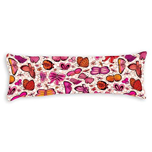 Funda de almohada moderna con diseño de mariposas, color rosa y rojo, con cierre de cremallera oculto, para sofá, banco, cama, decoración del hogar, 50,8 x 137,2 cm