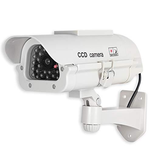 FISHTEC ® Camera Factice Extérieur CCTV - Fausse Caméra de Vidéosurveillance avec LED Clignotante - Panneau Solaire - Usage Extérieur/Intérieur