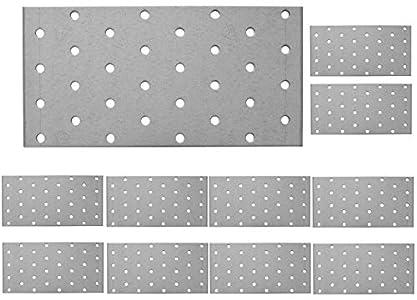 Placa de unión plana galvanizada de acero resistente, chapa de acero de 6.3 x 3.15 x 0.08 pulgadas (160 x 80 x 2 mm), paquete de 10 unidades