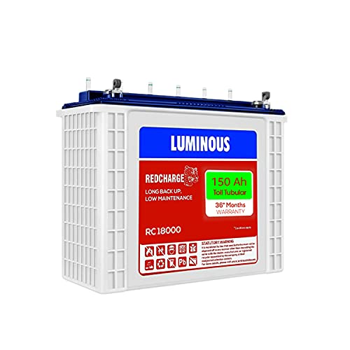 Luminous Red Charge RC 18000 150 Ah, Recyclable Tall Tubular Inverter Battery for Home, Office & Shops (Blue & White)
