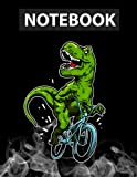 Funny Dino On A BMX Mountain Bike T-Rex Lover Bicycle Rider Journal Notebook / Greeting Card Alternative / 130 Pages 8.5''x11'