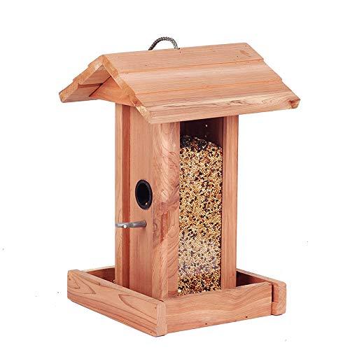 Futterspender Vogelkäfig Vogelhaus Futterhaus Vogelvilla Aus Echtholz Dach Aus Echtholzschindeln Für Die Ganzjährige Fütterung Von Wildvögel,19 * 18.5 * 29CM