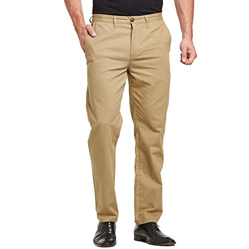 Tansozer Mens Pants Casual Slim Fit Wrinkle Resistant Flat Front Chino Pant (Khaki, W31-L30)