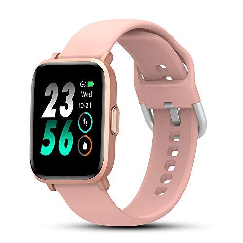 Smartwatch, Rosa Orologio Fitness Donna per Android iOS, IP68 Impermeabile Fitness Activity Tracker Smart Watch con 18 Sportive, Sonno, Cardiofrequenzimetro da Polso, Notifiche Messaggi Contapassi