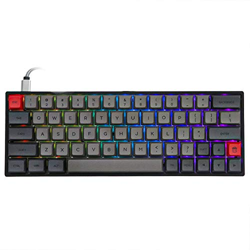 EPOMAKER SK64 64 Keys Hot Swappable Mechanical Keyboard with RGB Backlit, PBT Keycaps, Arrow Keys, IP6X Dustproof Waterproof for Win/Mac/Gaming (Gateron Optical Brown, Grey Black)