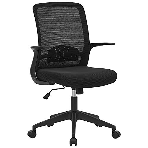 SONGMICS Fauteuil de bureau en toile, Chaise ergonomique, Siège, pivotant, réglable en hauteur, mécanisme d'inclinaison, siège et dossier en toile respirante, Noir OBN032B01