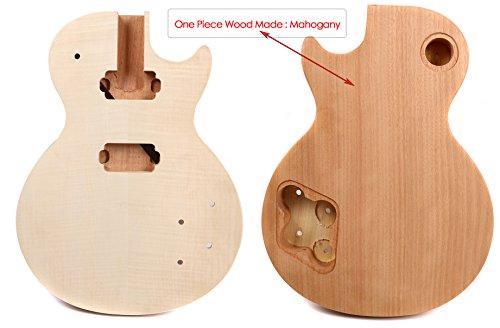 yinfente Elektrische Gitarre Körper Ersatz unlackiert Set in einem Stück Holz Gitarre Korpus Ahorn Mahagoni