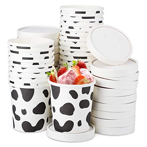 Soup Containers, Eusoar 12oz Ice Cream Freezer Containers with Lids 25pcs, Pint Frozen Dessert Containers for Meal Prep, Soup and Food Storage, Disposable Homemade White Kraft paper