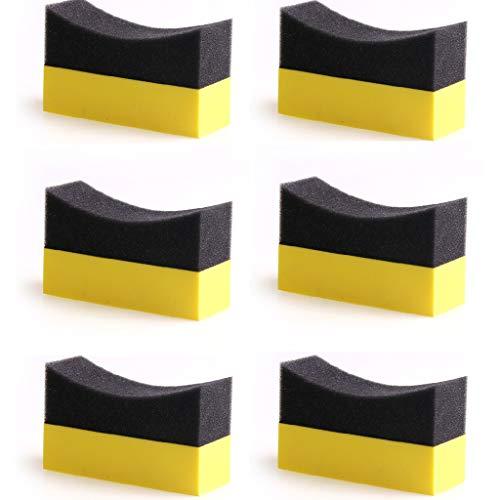 Meipai 6 almohadillas aplicadoras para contorno de neumáticos, brillo brillante, esponja de pulido de color