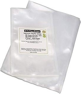 KitchenBoss 真空パック袋 真空ロール 包装袋 100枚 タックカット 真空パック機専用ロール 真空保存容器 専用抗菌 鮮度長持ち 食品保存 低温調理 家庭用 業務用 (15*25cm 50枚 + 20*30cm 50枚)
