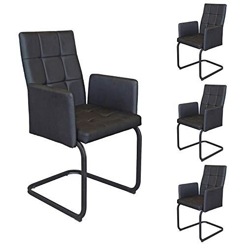 B&D home - Esszimmerstühle 4er Set   Vintage freischwinger Stühle mit Armlehne   Kunstleder schwarz