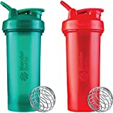 BlenderBottle Classic V2 Shaker Bottle Perfect for Protein Shakes and Pre Workout, 28-Ounce (2 Pack), Red, Green