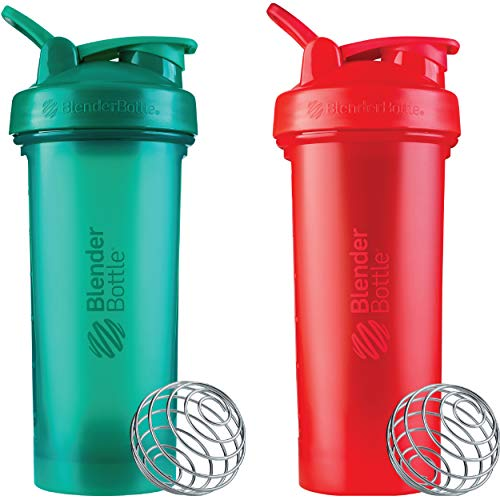 BlenderBottle Classic V2 Shaker Bottle Perfect for Protein Shakes and Pre Workout 28-Ounce 2 Pack Red Green