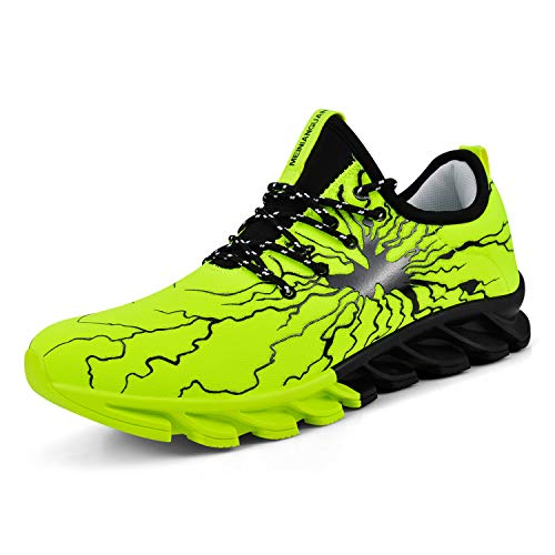 QANSI Men's Tennis Sneakers Lightning Designer Graffiti Shoes Non Slip Basketball Shoes Athletic Running Sports Gym Shoes Green 8