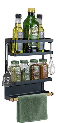 Sorbus Magnet Spice Rack Organizer for Refrigerator, 3-Tier Magnetic Storage Shelf with Paper Towel Holders and 5 Hooks, Multi-purpose, (Medium, Black)