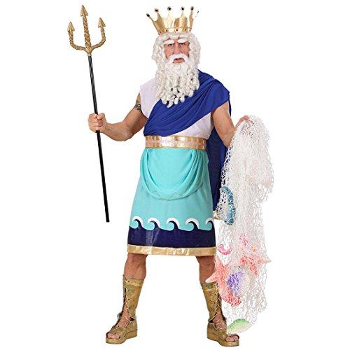 NET TOYS Neptun Kostüm Poseidon blau M 46/48 Neptunkostüm Griechischer Gott Meeresgott Kostüm