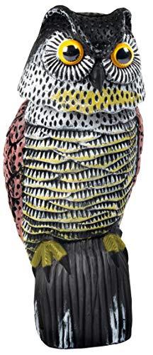 Gardigo Vogelschreck Eule mit Wackelkopf | Taubenschreck für Balkon, Garten, Terrasse | Dekofigur, Vogelabwehr