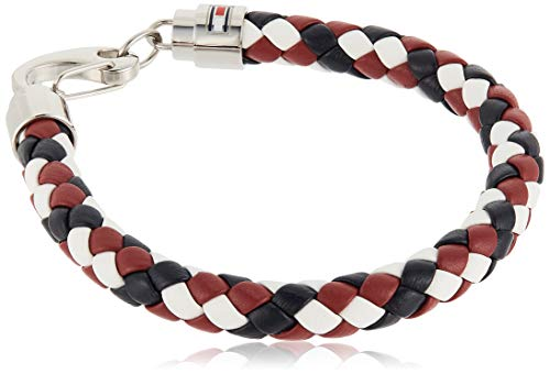 Tommy Hilfiger Casual Core Herren Armband Edelstahl Silber, Leder Blau/Rot/Weiß 19 cm