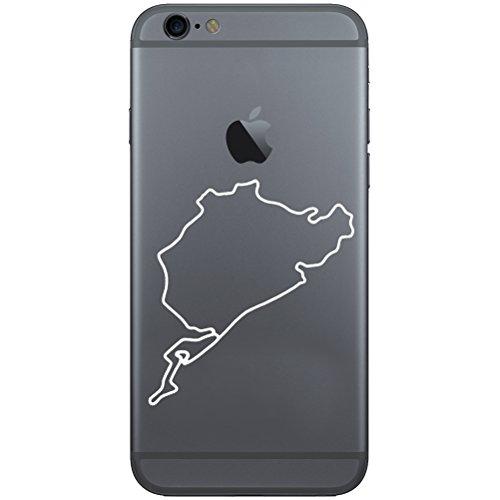 Calcomanía de Nürburgring Track Mapa F1Auto Racing vinilo calcomanía de teléfono celular para el iPhone o Android, Blanco