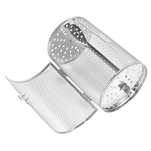 Acero rotativo Parrilla inoxidable Horno de tambor Cesta Frijoles de maní parrilla que cocina la herramienta de la astilla, Barbacoa Jaula