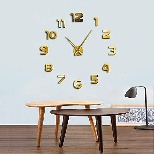 Gudojk DIY wandklok, eenvoudig, modern design, DIY 3D-spiegel-effect, grote Arabische cijfers, zelfklevend, wandklok, decoratie thuis, wandklok, 37 inch