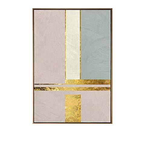 WANGXINQUAN Cuadro decorativo nórdico para sala de estar, diseño minimalista moderno y moderno, dorado, modelo A gran versión de murales 40 x 60 cm