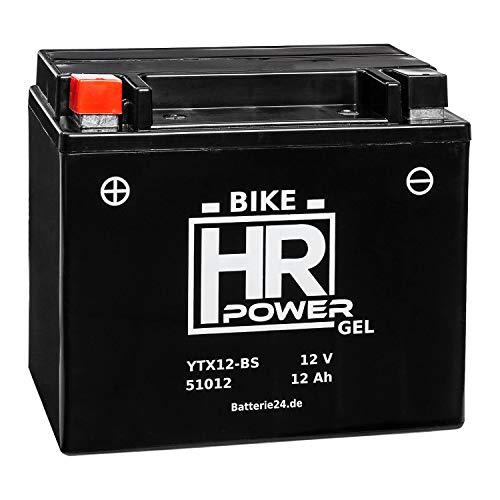 Gel Motorrad Batterie Starterbatterie 12V 12Ah YTX12-BS 51012 wartungsfrei