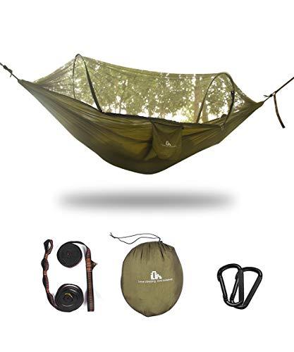 iClimb ハンモック 蚊帳付き パラシュート 虫対策 通気 快適 軽量 ベルト カラビナ 付き 超広い 2人用 270×140cm 折り畳み 収納袋付き 持ち運び簡単