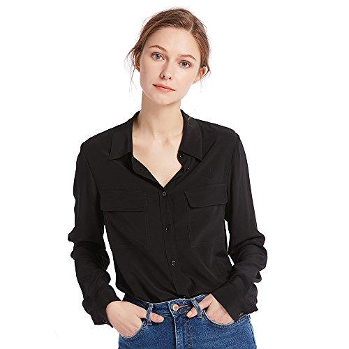 LilySilk Klassisch Seide Damenbluse Hemdbluse Shirt Damen Langärmlig mit Perlmutt-Knopfleiste von 18 Momme (Schwarz, XXL) Verpackung MEHRWEG