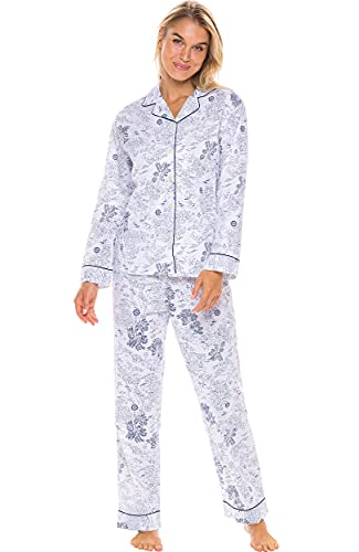 Alexander Del Rossa Women's Lightweight Button Down Pajama Set, Long Cotton Pjs, Large Sailboats and Palm Trees Tropical Dream (A0517V38LG)