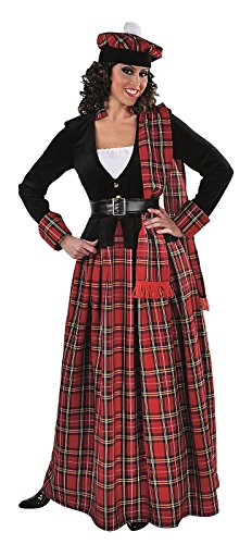 M215177-XL Damen Schottenkleid lang rot-schwarz Schottenkostüm Gr.XL