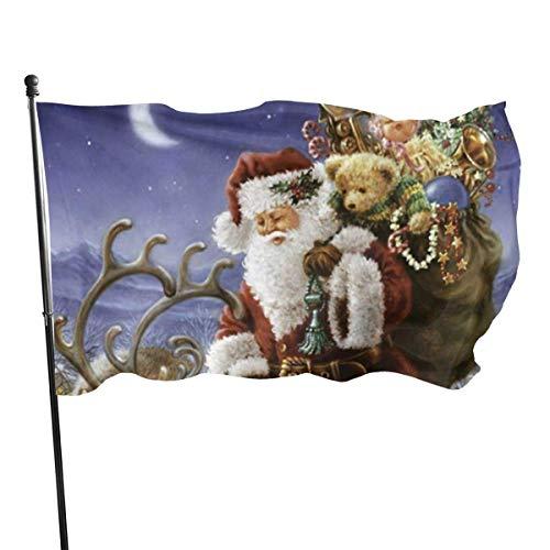 Banderas para jardín Santa Chimney presenta Reno Navidad Bandera Grande de balcón para Exterior Reforzada y con 2 Ojales metálicos 90x150cm