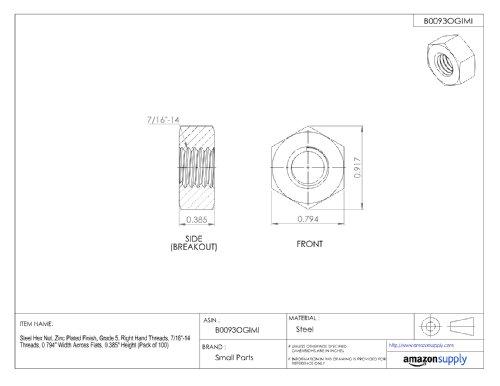 Plain Finish Steel Hex Nut Pack of 10 0.887 Height 1.732 Width Across Flats 1-8 Threads Grade 8