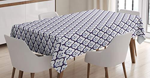 ABAKUHAUS Nederlands Tafelkleed, Delfts blauw ontwerp van de Schalen, Eetkamer Keuken Rechthoekige tafelkleed, 140 x 170 cm, Indigo en White