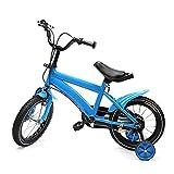 Futchoy Bicicleta infantil de 14 pulgadas con ruedas de apoyo, unisex, color azul