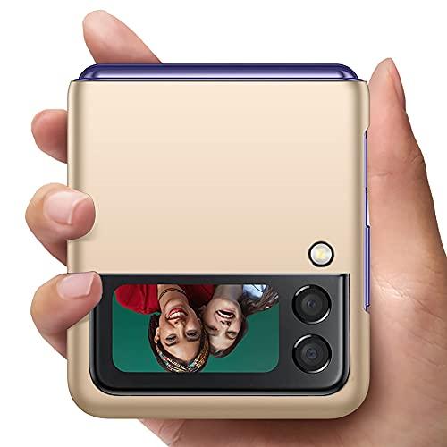 YIIWAY Kompatibel mit Samsung Galaxy Z Flip 3 5G Hülle, Gold Sehr Dünn Hülle Handyhülle Harte Schutzhülle Hülle Kompatibel mit Samsung Galaxy Z Flip3 5G YW42399