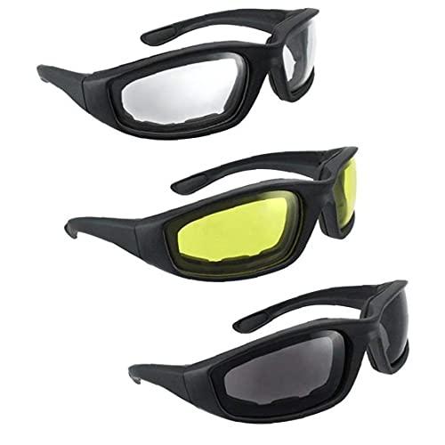 Yililay Lentes Motocicleta 3PCS Hombres Gafas de Acolchado de Espuma con Anti-Niebla UV Lente de la protección a Prueba de Viento de Sol a Prueba de Polvo para Montar a Caballo Pesca Deportes al