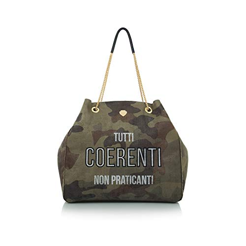 LE PANDORINE Borsa Donna Shopping Coerenti AI19DAF0238507-Military Green