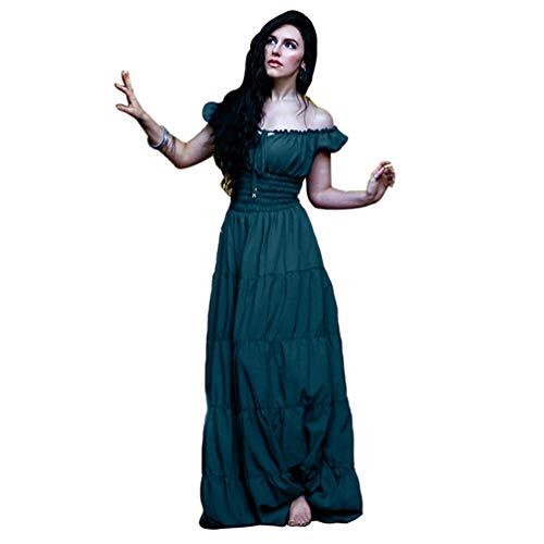 Guiran Medieval Renaissance Ropa Vintage para Mujer Vestido Maxi Halloween Disfraz Verde 2XL