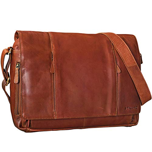 STILORD 'Erik' Vintage schoudertas leder bruin 15,6 inch schoudertas mannen en vrouwen eenheidstas werk office echt leder, Kleur:cognac - bruin