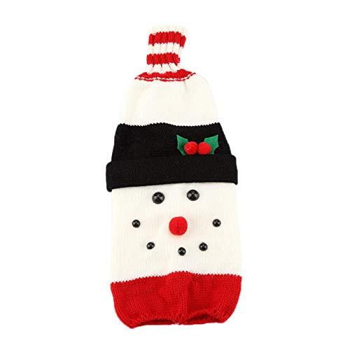 Bonita bolsa de botella de vino de Navidad, divertida funda de botella de vino de Navidad, decoración de temporada, adornos de temporada para restaurante de fiesta(snowman)
