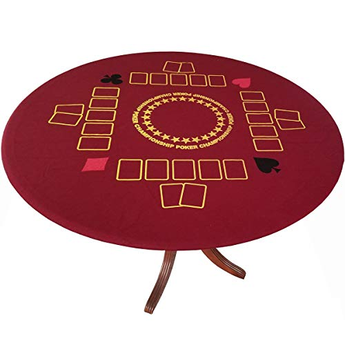 Championship Poker Felt Game Table Cover Stretches to fit up to 48 inches Casino Red