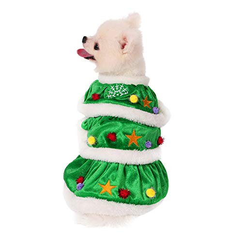 Filhome Dog Christmas Tree Costume, Pet Cat Christmas Dress Winter Fleece Coat Clothes Sweater Puppy Xmas Outfit Apparel
