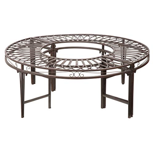 Design Toscano Rundherumbank Gartenbaumbank, Stahl, 119 cm