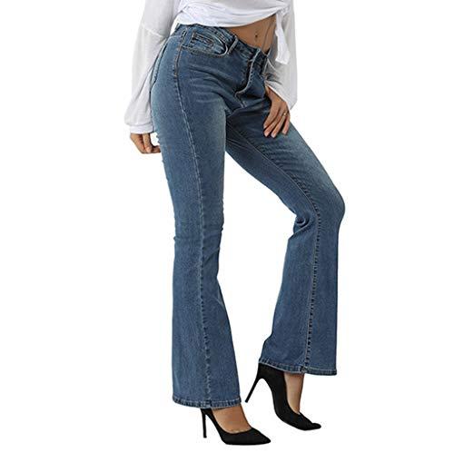 Alwayswin Schlaghosen Damen Stretch Jeanshose Retro Hohe Taille Jeans Flared Pants Lose Lange Hosen Länge Jeans Elegant Bootcut Flared Jeans Streetwear Denim Pants