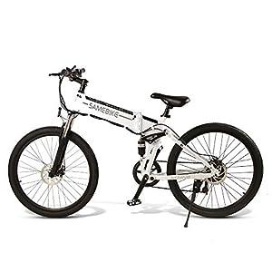"""41AvObbs6IL. SS300 SAMEBIKE Mountain Bike elettrica per adulti 26 """"Ruota pieghevole Ebike 350 W Alluminio Bicicletta elettrica per adulti con batteria agli ioni di litio rimovibile 48 V 10AH 21 velocità"""