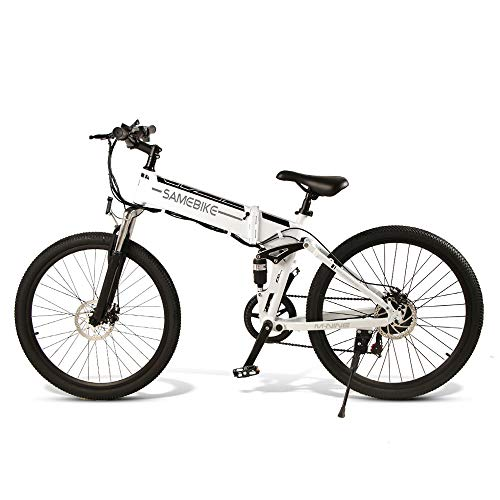 SAMEBIKE Electric Mountain Bike for Adults 26' Wheel Folding Ebike 350W Aluminum Electric Bicycle for Adults with Removable 48V 10AH Lithium-Ion Battery 23 Speed Gears